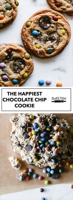 THE HAPPIEST CHOCOLATE CHIP COOKIE- This isn't your regular chocolate chip cookie... it's the happiest! The pop of colors gets everyone excited about eating them; Kids and adults! Add a little sprinkle of sea salt and YUM!
