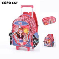 7cb58dc00d Mochilas para Escola Feminina Notável Estampa com dos Desenhos Animados  Fecho tipo Zíper Trolley Backpack para