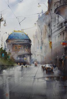 ♥   © Ilya Ibryaev - In Prague - watercolor -53х35 cm