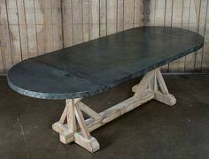 Zink Top Oval Dining Table from Mecox Houston