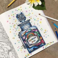 A bottle of rainbow dust from #hannakarlzon #magiskgryning - my very first from a non #johannabasford #adultcoloringbook I found that the paper was quite different from what I have been used to - but it was fun working with something different #hannakarlzon #magiskgryning #magicaldawn #adultcoloring #coloringforadults #colortherapy #mycreativeescape #carandache #carandachepablo ❤️