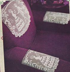Vintage Crochet PATTERN to make Filet Crinoline Lady Man Doily Chair Set Crinoli #VintageHomeArts