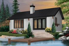 House Plan 034-00528 - Lake Front Plan: 874 Square Feet, 2 Bedrooms, 1 Bathroom