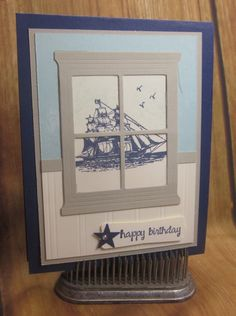 Stampin' Up! The Open Sea, Heart & Home Framelits, DIY handmade birthday…