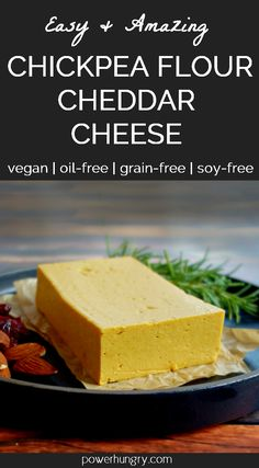 Chickpea Flour Cheddar Cheese {Vegan, Oil-Free, Nut-Free, Soy-Free} INCREDIBLE Vegan Cheddar Cheese, made in about 10 minutes with chickpea flour! It is naturally and plus Vegan Cheddar Cheese, Vegan Cheese Recipes, Dairy Free Cheese, Vegan Foods, Vegan Snacks, Vegan Dishes, Dairy Free Recipes, Vegan Vegetarian, Paleo