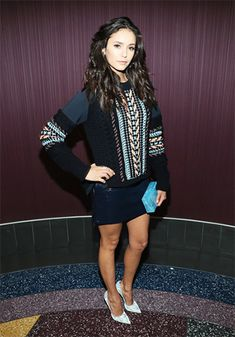 Nina Dobrev at the xXx: the Return of Xander Cage Screening on November 12, 2016, wearing a Versace sweater, a Versace skirt https://api.shopstyle.com/action/apiVisitRetailer?id=537542228&pid=uid7729-3100527-84 and an Edie Parker clutch https://api.shopstyle.com/action/apiVisitRetailer?id=521661868&pid=uid7729-3100527-84. #style #celebstyle #versace #edeiparker