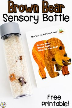 Are you looking for a book-inspired, sensory activity? This Brown Bear Sensory Bottle is fun to play with after reading the book Brown Bear, Brown Bear, What Do You See? by Bill Martin Jr. and Eric Carle. Kids can count the bears and record data by using tally marks. They can work on their language skills by describing each bear too. Click on the picture to learn more about this sensory bottle & get the free printable Colorful Bears emergent reader! #sensorybottle #sensoryactivity #bookactivity.