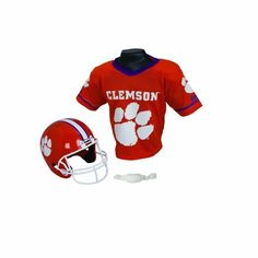NCAA Clemson Tigers Helmet and Jersey Set by Franklin. $25.00. Show your team support on game day!. Mesh team jersey. Warning: Helmet must NOT be used as protective equipment in football or any other contact sport. One size fits most: ages 5-9. Team logo helmet with chin strap. The Franklin Sports Collegiate Helmet and Jersey Set features a team logo helmet with chin strap. The jersey is mesh.The helmet is NOT to be used in football or any other contact sport. Suggested age 5-...