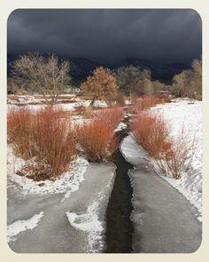 Taos Pueblo New Mexico Frozen Stream Winter Snow Ice LlAS211