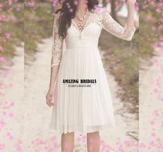 Knee Length Short sleeves Tulle Lace short Wedding dress, short wedding dress-Special price on Etsy, $178.00