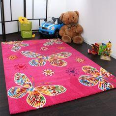 Kinderteppich schmetterling rosa  Kinder Teppich Schmetterling Design Grün Creme Rot Pink, ... https ...