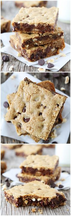 Brown Butter Chocolate Chip Hazelnut Cookie Bars on twopeasandtheirpo... The PERFECT cookie bar!