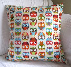 Funky Retro Owl Print Cushion Cover by MissCherriesBoutique,