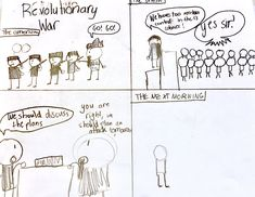 Student's drawing of a Revolutionary War comic strip.