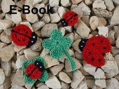 Häkelanleitung Glücksbringer mit kleinen Marienkäfern und Kleeblättern / diy crochet instruction: little shamrocks and ladybugs by kreatives-stricken via DaWanda.com