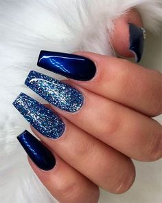 Blue coffin nails with glitter blue coffin nails, navy blue nails Dark Blue Nails, Navy Nails, Blue Coffin Nails, Blue Glitter Nails, Sparkle Nails, Navy Acrylic Nails, Nail Art Blue, Silver Glitter, Navy And Silver Nails