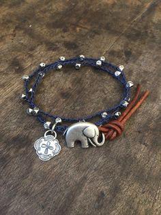 Boho Elephant Crochet Bracelet - Southwestern Multi Wrap Leather Beaded Jewelry by Two Silver Sisters