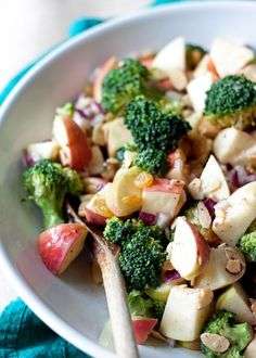 Broccoli Apple Salad with Creamy Lemon-Tahini Dressing - A broccoli-apple salad recipe without mayo! This crunchy, fresh salad comes together in a flash. Perfect for potlucks and parties. Vegan, GF.