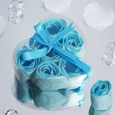 BalsaCircle 100 Gift Boxes with 6 Rose Soaps - Wedding Favors - Light Blue