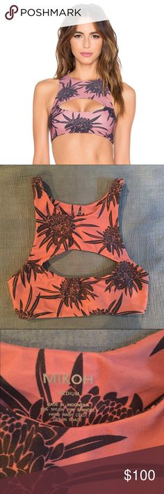 New w/o tags! Mikoh Marrakesh Protea Lychee Top New without tags! Never worn, only tried on. No flaws. Beautiful floral graphic. Cut outs front and back for a sexy sporty look.  A true Hawaiian brand! Amazingly comfortable material. Unlined Mikoh Swim Bikinis