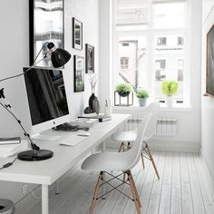 This seems like a pretty little home office to work from (image via Behance)