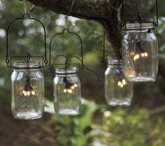 Glass Mason Jar Solar String Lights - modern - outdoor lighting - Plow & Hearth