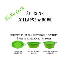 Silicone Collapse-a-Bowls - $5.95/ each - Available in blue & red. Pet Furniture, Pet Travel, Large Animals, Day Trips, Bowls, Pets, Blue, Serving Bowls, One Day Trip