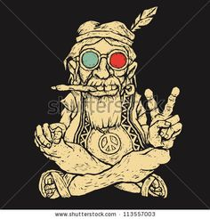 Female Cartoons Smoking Weed | old hippie smokes marijuana and shows the peace symbol. vector ...
