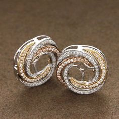 Certified 0.71 CT Diamond Studs & Earring Halo Jackets 14k White Gold