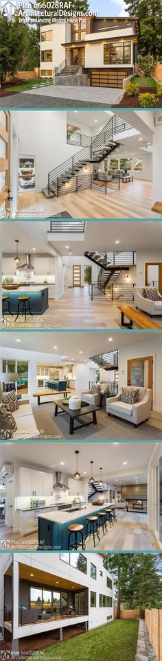 Architectural Designs Modern Plan gives you over sq ft of heated living space with 4 beds and 3 baths. New House Plans, Modern House Plans, Modern House Design, House Floor Plans, Architecture Design, Plans Architecture, Luxury Homes Interior, Interior Exterior, Cool Apartments