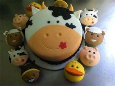 Cow cake with farm animal cupcakes Cow Cakes, Fondant Cakes, Cupcake Cakes, Bear Cakes, Farm Animal Cakes, Animal Cupcakes, Farm Animals, Farm Animal Birthday, Farm Birthday