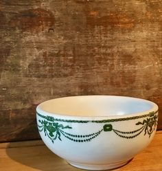 Chili Bowl Old Heavy Bowl with Green Swags by putnamandspeedwell