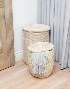 Our classic White Hampers are perfect for storing any blankets, toys, or clothes. Choose from our small and tall size.