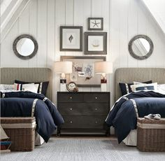 Styling, guest bedroom with two twin beds.