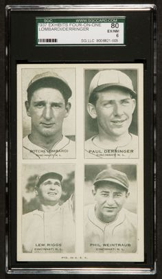Exhibits 4-on-1 card from 1937, featuring Eernie Lombardi, Paul Derringer, Lew Riggs, and Phil Weintraub of the Cincinnati Reds.