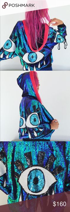 sequined eyeball hoodie amazing festival rave rare Beautiful holographic sequined eyeball hoodie.  So in love with this piece! Amazing quality. No brand. Fits small/medium best. Cheaper off site Discount universe Jackets & Coats