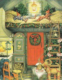 Postcard by Inge Löök, old ladies, Christmas