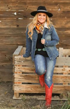 Fall fashion on point #frostedcowgirls #fallfashion #redboots #wildrags #jeanjackets
