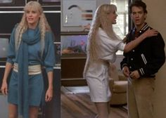 80s fashion: Batwing sleeve jersey shirt dresses worn with belts.