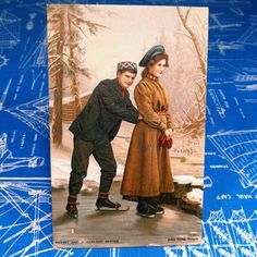 c.1900 Ice Skating Young Couple Winter Scene Eneret Ant. J. Karlsen Bergen Postcard Greeting Card Norway