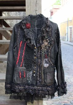 Steampunk jacket - extravagant  reworked vintage jacket, wearable art, hand embroidered and beaded details,