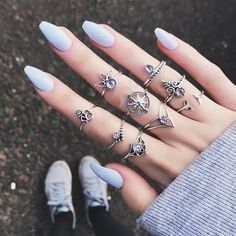 Cheap best Vintage Finger Ring Starry Gem Leaves Flower Butterfly Knuckle Rings Set Fashion Jewelry for Women - NewChic Mobile Cute Acrylic Nails, Cute Nails, Pretty Nails, Finger Knuckles, Set Fashion, Fashion Vintage, Boho Fashion, Fashion Women, Latest Fashion