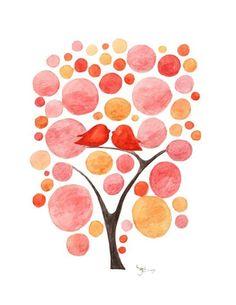LIFE with BIRD modern art print tree pink orange baby girl nursery teen wall archival watercolor painting polkadots dots bubbles - lbv007. $16.00, via Etsy.