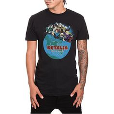 Hetalia World Series T-Shirt   Hot Topic ($9.98) ❤ liked on Polyvore featuring tops, t-shirts, black t shirt, black top, logo tee, black tee and logo t shirts