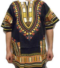 Dashiki Shirt African Men Top Casual T-Shirt Blouse Cotton Black Yellow One Size Dashiki Shirt Mens, African Dashiki Shirt, Dashiki For Men, African Blouses, African Shirts, African Men, African Fashion, Blouse Vintage, Vintage Tops