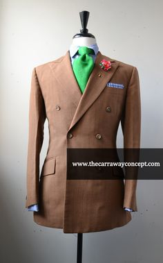 golden brown double breasted pinstripe suit