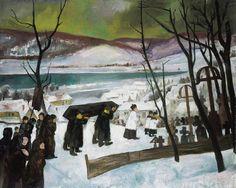 István Szőnyi (Hungarian, Funeral in Zebegény, Oil on canvas, x cm. Artist Life, Hanging Art, Hetalia, Hungary, Funeral, Oil On Canvas, Cool Art, Buddha, Gallery