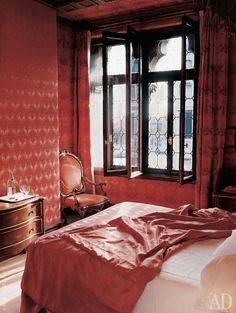 red bedroom | bauer venice #historical #colors