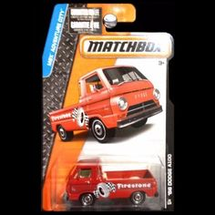Up for sale is a 2014 Matchbox MBX Adventure City Firestone '66 Dodge A100 Truck. This 2011 Matchbox MBX Adventure City Firestone '66 Dodge A100 Truck comes new in original packaging and is a 1:64 sca