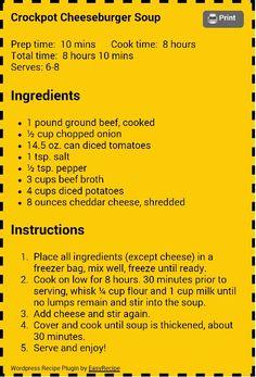 Crock Pot Food, Crockpot Dishes, Crock Pot Slow Cooker, Slow Cooker Recipes, Crockpot Recipes, Soup Recipes, Cooking Recipes, Drink Recipes, Cooking Tips